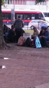 Migrants in Park near Belgrade Bus Station